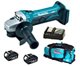 Makita 18V LXT BGA452 BGA452Z BGA452Rfe Angle Grinder, 2 X BL1830 Batteries, DC18RC Charger And LXT600 Bag