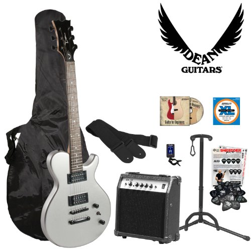 Dean Guitars EVOXM-MSL-KIT-1 Metallic Silver Electric Guitar with Strings, Strap, Stand, Tuner, Bag, DVD, Picks and Amplifier