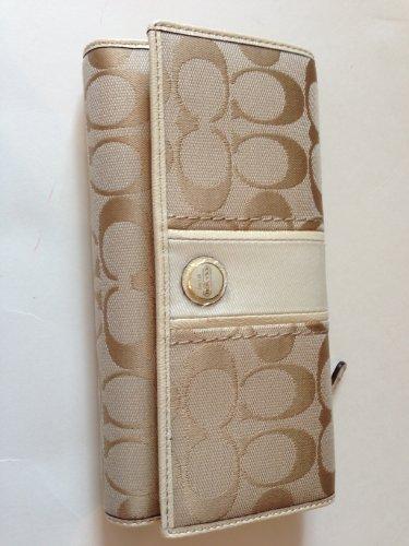 Coach Signature Checkbook Wallet Khaki White 48810