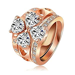 Womens Girls 18K Gold Plated Rings Engagement Wedding Bands Three Stackable Size 5.5 Rose Gold - Aooaz