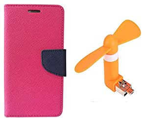 Novo Style Book Style Folio Wallet Case Micromax Canvas Nitro A310 Pink + Smallest Mobile Fan Android Smart Phone