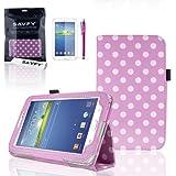 "SAVFY Samsung Galaxy Tab 3 7.0 7-inch Stylish Polka Dots PU Leather Case Cover Flip Stand, Bonus: + Screen Protector + Stylus Pen + SAVFY Cleaning Cloth (for Galaxy Tab 3 7"" INCH P3200/ P3210, WiFi or 3G+WiFi), NOT Suitable for Tab 3 7"" Lite £¨T110£© (polka dots LIGHT PINK)"