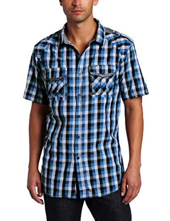 Marc ecko cut sew men 39 s tricolor gingham shirt electric for Marc ecko dress shirts