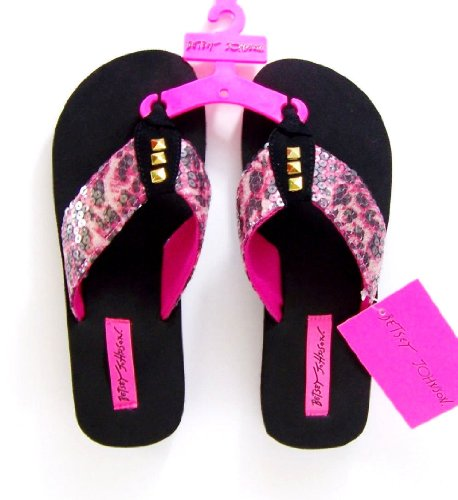 Betsey Johnson Sequin Flip Flops Pink Black Gold Small Size 5/6 front-863284