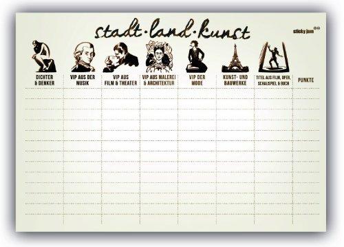 Sticky Jam Tischset aus Papier STADT LAND KUNST - 50er Set