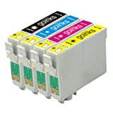1 Set of Compatible Printer Ink Cartridges to replace T0615 (4 Inks) - Black / Cyan / Magenta / Yellow for use in Epson Stylus D68, D68PE, D88, D88 Plus, D88 Photo Edition, DX3800, DX3850, DX4200, DX4250, DX4800, DX4850