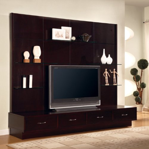 Cappuccino Finish Contemporary Style TV Console with Glass Shelving by Coaster Furniture