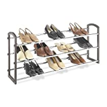 3 Tier Expandable Whitmor Faux Leather Shoe Rack