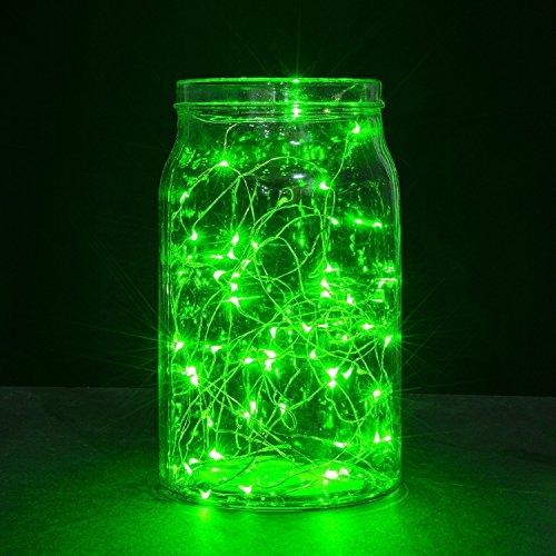 ALED LIGHT® 5M 50-LED Copper Wire String Fairy Light mit Ladegerät , Ideal für Drinnen und Draußen zur Dekoration von Hochzeiten, Partys, Weihnachten, Halloween, Kinderzimmer, Fahrrad, Zelt (9 Farben) (Grün)