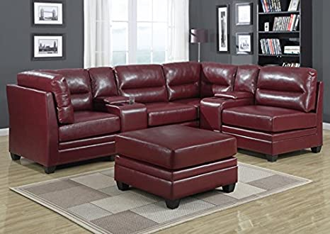 RED BONDED LEATHER CONSOLE (SIZE: 15L X 39W X 37H)