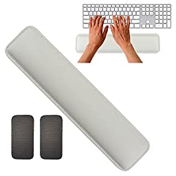 Rancco PU Leather Gaming Keyboard Mouse Wrist Rest with Non-Skid Mat, Stitched Edge Soft Wrist Cushion Pad filled with Memory Foam for Notebook/ Desktop, Suit for Offices, Home, Gaming(14.5\