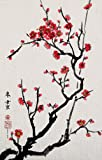 Cherry Blossoms, Giclee Print of Chinese Brush Painting By Peggy Duke, 13 X 20 Inches