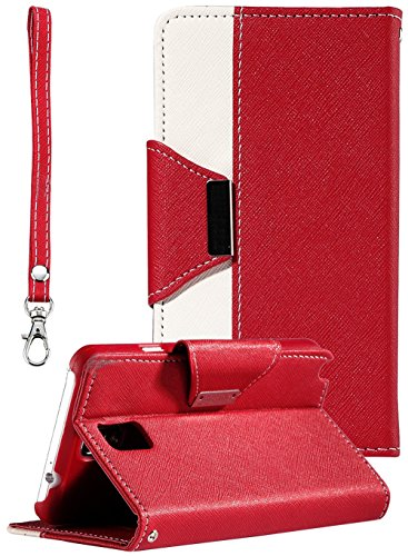 myLife Deep Red and Bright White {Luxury Fashion Design} Faux Leather (Card, Cash and ID Holder + Magnetic Closing) Slim Wallet for Galaxy Note 3 Smartphone by Samsung (External Textured Synthetic Leather with Magnetic Clip + Internal Secure Snap In Closure Hard Rubberized Bumper Holder)