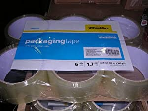 OfficeMax 1.7 mil Standard Acrylic Packaging Tape, 6 Packs
