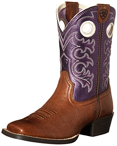 Ariat Crossfire Western Boot (Little Kid/Big Kid), Wood/Sparkling Purple, 2 M US Little Kid
