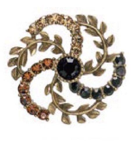 PILGRIM 356-105 Brosche, vergoldet, braun+schwarz