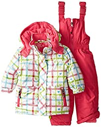 Rugged Bear Baby Girls\' Plaid Heart Snowsuit, White, 12 Months