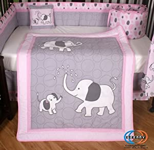 Pink and Gray Elephant 13 Piece Crib Bedding Set