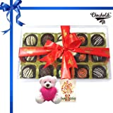 15pc Exotic Truffle Collection With Birthday Card And Teddy - Chocholik Belgium Chocolates