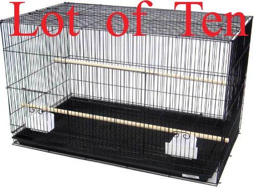 Mcage Lot of Ten Aviary Breeding Breeder Lovebird Finch Parakeet Finch Flight Cage 20x14x14H (Color: Black, Tamaño: 20 x 14 x 14H)