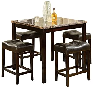 Counter Height Stools Amazon : Amazon.com: Crown Mark Kinsey 5-Piece Counter Height Table/Stool ...