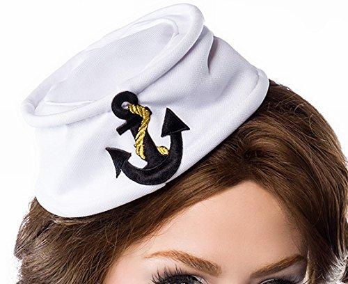 Weie-Matrosenmtze-fr-Damen-mit-aufgesticktem-Ankermotiv-Patch-Marine-Look
