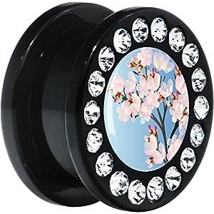 "5/8"" Black Acrylic Kimono Sakura Blossom Flower Gem Screw Fit Plug"