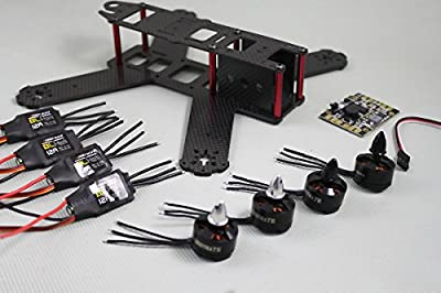 Targethobby Carbon Fiber QAV210 FPV 4 Axis Quadcopter Kit W/ Hobbymate 2204 Motor, 12A BLheli ESC's,Props, Motor Protector, 5v 12v PDB board, Wrench, Battery Paste Belt