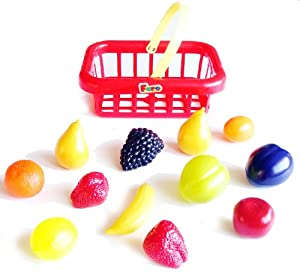 Faro Toys Italy: Pretend Play Food Products: 12 Piece Toy Fruit with Basket