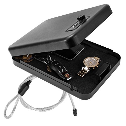 Small Portable Combination Lock Box Safe W Steel Cable Travel