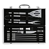 Flamen 14 Piece Stainless Steel BBQ Barbecue Grill Tool Set (13 Tool and 1 Aluminum Case)