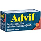 Advil Pain Reliever/Fever Reducer Coated Gel Caplet, 200mg Ibuprofen, Temporary Pain Relief (100 Count)