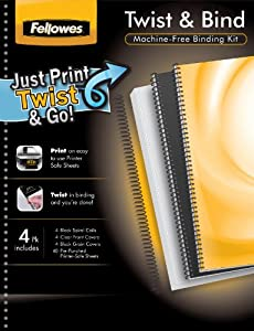 Fellowes Twist and Bind All-In-One Machineless Binding Kit, 4 Pack (5226304)
