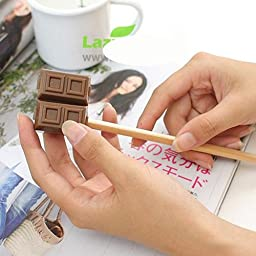 6 pcs/Lot Chocolate Pencil sharpener with Eraser Novelty Stationary Office accessories School supplies 6411