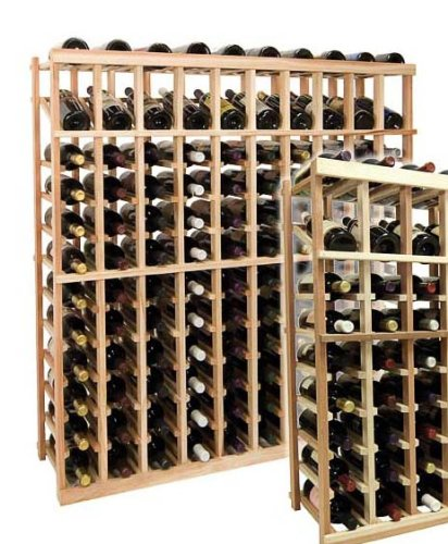 4 Ft. 10-Column Wine Rack W Display (All-Heart Redwood - Unstained) front-591938