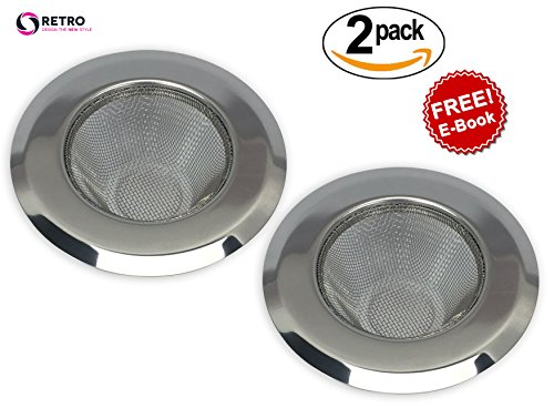 2-Piece Stainless Steel Kitchen Sink Strainer With Mesh Construction - By RETRO. Ultimate Quality, Stops Clogging. Perfect for Home and Restaurant Kitchens (Silver).FREE E-BOOK ON HOME ORGANISING. (Fine Mesh Fryer Basket compare prices)
