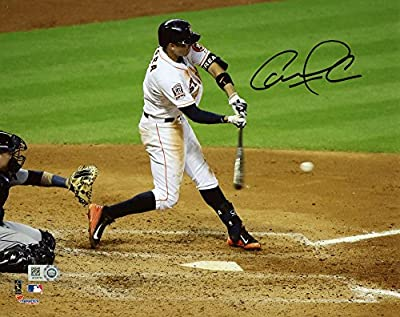 "Carlos Correa Houston Astros Autographed 8"" x 10"" White Hitting Photograph - Fanatics Authentic Certified"