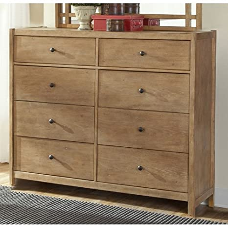 American Woodcrafters Natural Elements 8 Drawer Dresser in Soft Driftwood with Off-white Glaze 1000-280
