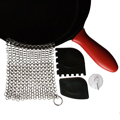 Chain Mail Cast Iron Cleaner Kit by Rosella Market Includes: Premium XL 316 Stainless Steel SCRUBBERY Chainmail Scrubber, 2 Pan Scrapers, Silicone Hot-Handle Holder, Storage Hook (Chain Link Cast Iron compare prices)