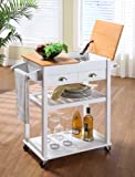 White / Natural Finish Wood Kitchen Serving Cart