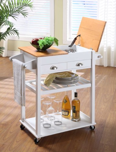 King's Brand R1019 Wood Kitchen Storage Serving Cart, White and Natural Finish