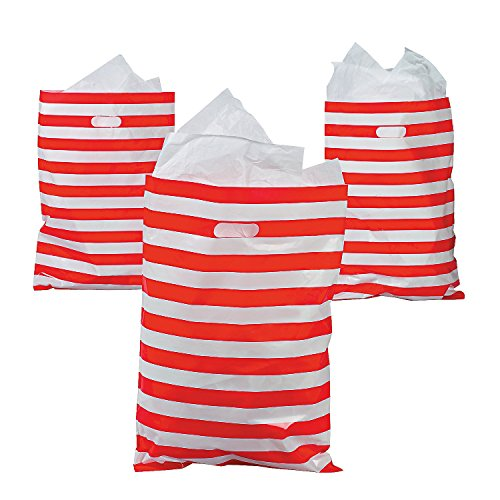 "HUGE Red and White Stripe Plastic Favor 17"" x 12"" Bags - (50 Pack) Christmas Gift Bags"