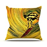 """Kess InHouse Josh Serafin """"Suppose"""" Yellow Black Outdoor Throw Pillow, 16 by 16-Inch at Sears.com"""