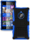 Heartly Flip Kick Stand Spider Hard Dual Armor Hybrid Bumper Back Case Cover For Nokia Lumia 830 - Power Blue
