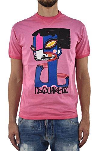 DSQUARED2 Uomo T-SHIRT Nuova New Dean Fit Picasso Rosa - Taglia: L