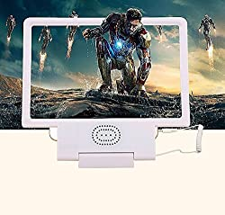 Hator 3D Folding Portable Mobile Phone Screen Magnifier Bracket Enlarge Stand with Sound Speaker for Iphone 5 5s 5c 4 Samsung Galaxy S6 S5 S4 Note4 HTC All Kind of Cell Phones (White)