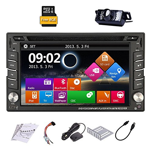 Upgarde Version With Backup Camera ! Win 8 Double Din In Dash Car Stereo Radio 2 DIN Car DVD CD Video Player Bluetooth GPS Navigation Car Entertainment with 800MHZ CPU & 8GB Map Card (Radio With Backup Car Camera compare prices)