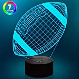 Lampeez American Football 3D Night Light,LED Illusion Light 7 Colors Changing Sports Rugby Lamp Touch Sensor USB for Kids Room Decor Xmas Birthday Gift