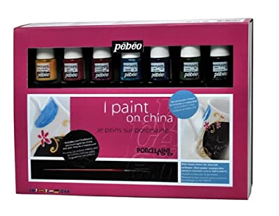 Pebeo Porcelaine 150 China Paint, Gift Set of 8 Assorted 20-Milliliter Colors and Accessories