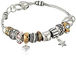 Silver-Tone Hearts and Stars Charm Bracelet, 8""